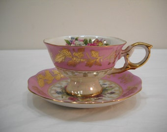 Vintage L M Royal Halsey Tea Cup And Saucer Set Roses Gold Trimed FREE SHIPPING