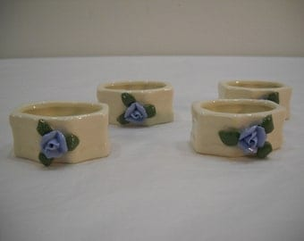 Set of 4 Cream Color Blue Rose Genuine Porcelain Napkin Holders