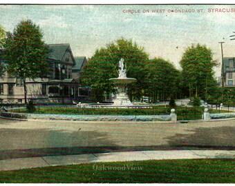 Syracuse N.Y. West Onondaga Street Circle Postcard, Marble Fountain, Upstate New York, Antique 1907 Ephemera, FREE SHIPPING