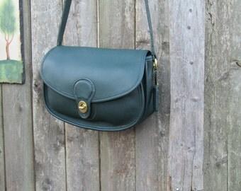 Vintage Coach // Prairie Bag // Saddle Bag // Rare Hunter Green Leather // 1980s // USA //