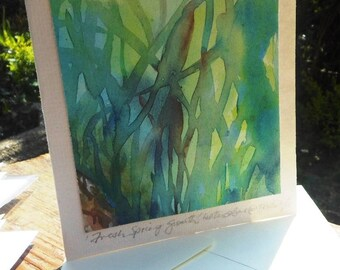 "watercolour painting  ""Fresh Spring Growth "" original fine art image on a card  -SALE-"