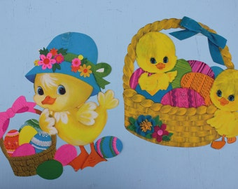 Vintage Cardboard Die Cut Easter Chicks, Groovy Colors, Set of TWO, Hallmark