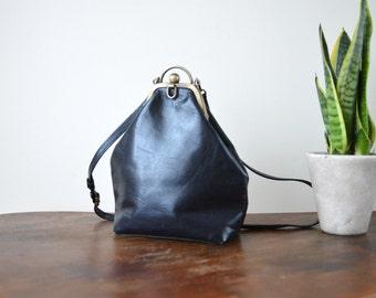 Mini Backpack Vintage Leather Rucksack  Black Pouch Shoulder Bag Purse