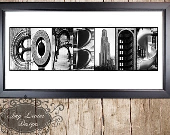 Personalized Name Frame | Black Wood Frame | Alphabet Letter Photos Custom Framed 10x20, B&W Prints