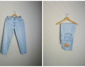 vintage 80s levi's light wash denim 550s -- tapered ankle high waist- relaxed fit -- 28x29