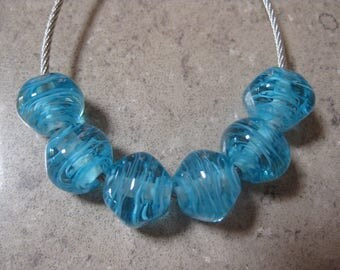 lampwork glass beads aqua blue diamond glass beads blue filigrana handmade glass beads