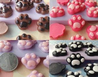 10pcs kawaii diy fake bear's paw flatback resin cabochon 23x20mm mixed colors