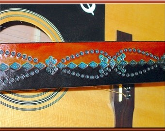 SHAMAN'S LOOP Design • A Beautifully Hand Tooled, Hand Crafted Leather Guitar Strap
