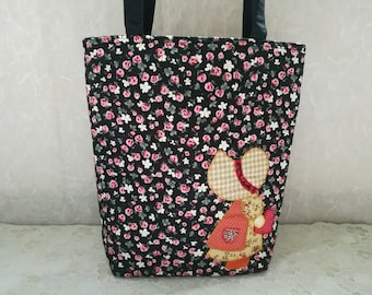 Quilted Bag, Cotton Sue Applique Bag, School Handbags, Patchwork Bag, Shopping bag, Tote Bag Black Color Cotton