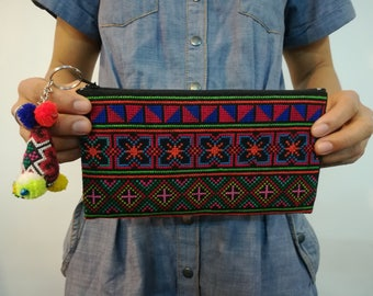 Coin Pouch Bag with pom pom, Hill Tribe Bag, HMONG Thailand  Bag, Embroidery Bag, Makeup Bag, Phone Pouch, Pencil Case, Cosmetic Bag
