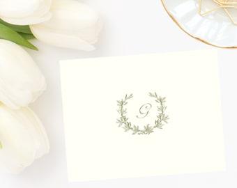 Laurel Wreath Monogrammed Note Cards