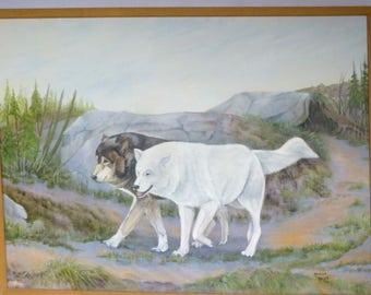 Vintage HUGE Original WOLF PAINTING