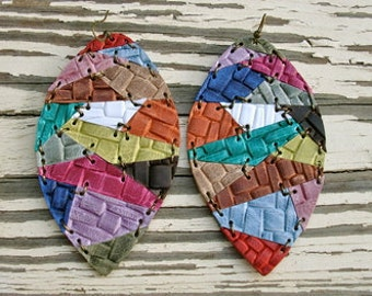 Multi Colored Basket Weave Leather Earrings
