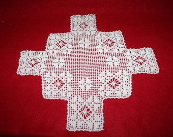 Vintage Hand Crocheted Doily-Semi-Square
