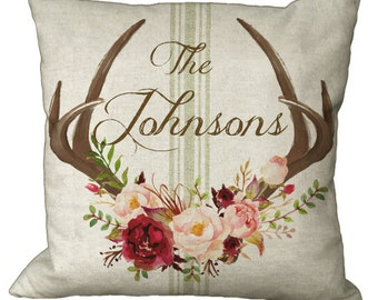 Rose Floral Grainsack Deer Antler Burlap Linen Cotton Custom Name in Choice of 14x14 16x16 18x18 20x20 22x22 24x24 26x26 inch Pillow Cover