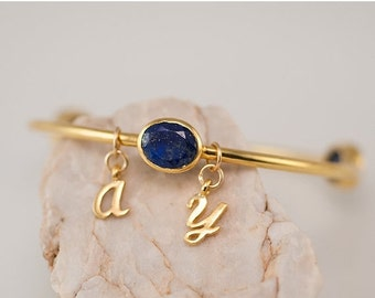 40 OFF - Friendship Bracelet - Personalized Charm Bangle -Lapis Bracelet - Gemstone Bangles - Bezel Set Bangles - Initial Charm Bracelets