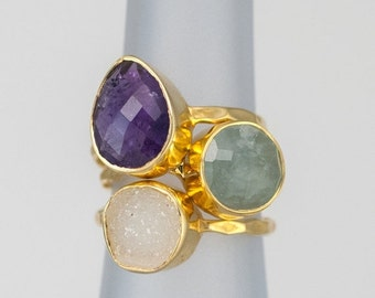 40 OFF - Size 6 Ring- Stackable Stone Ring Set - Stacking Ring - Stackable Rings - Birthstone Ring-  Mothers Rings  - Three Ring Set