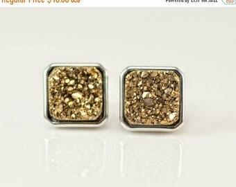 40 OFF - Stud Earrings - Gold Druzy Stud Post Earrings - Silver Stud - Square Studs - Druzy Studs - Brown Druzy - Silver Druzy - Blue Druzy