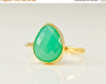 40 OFF - Mint Green Chrysoprase Ring - Gemstone Ring - Stacking Ring - Gold Ring - Tear Drop Ring - Solitaire Ring