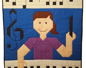 Music Teacher quilt pattern in multiple sizes