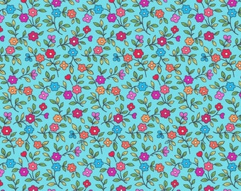 Quilting Shop Hop floral calico Sky Blue premium cotton fabric by Bonnie Krebs for Henry Glass - sold per yard