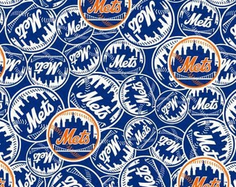 MLB New York Mets Logos baseball team cotton fabric from Fabric Traditions - BTY