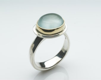 Aquamarine Gold and Silver ring - Platform Ring - non-traditional alternative - size 7 1/2 size P