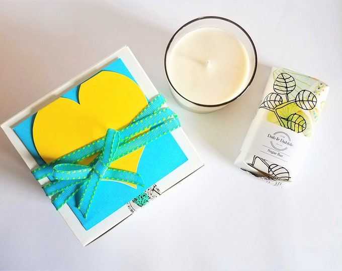 Featured listing image: Spa Gift Set | Soy Candle | Sugar Bar Soap | Scented Soy Candle | Soap Gift Set | Mother's Day Gift | Bridesmaid Box | Coworker Gift