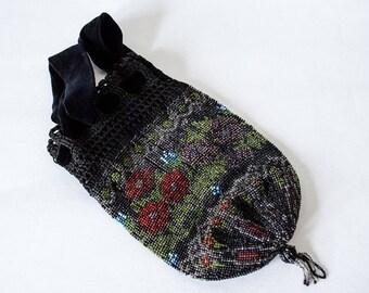 25% OFF SALE / 1900s vintage purse / antique beaded purse / black floral reticule