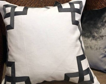 Greek Key Fretwork White Linen with Gray Fretwork- Pillow Cover