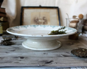 French country antique ironstone cake stand St Amand earthenware 1900s french cottage shabby chic Art Nouveau rustic