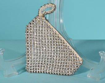 Vintage Art Deco Clutch Purse - Geometric Czech Rhinestones - Bridal Fashions