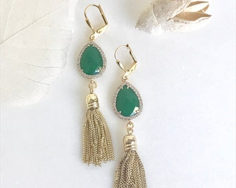 Fancy Green and Gold Tassel Earrings.  Fancy Long Tassel Earrings.  Gold Statememt Earrings. Modern Jewelry. Statement Earrings.
