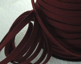 6yds Faux Suede leather Micro Fiber Burgundy Jewelry Cord Lacing 6mm x 1.5mm ribbon cord