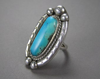 Huge Turquoise Ring, Native American, Statement Ring, Size 8, Sterling Silver, Vintage Ethnic Jewelry, Boho, Hippie, Unisex