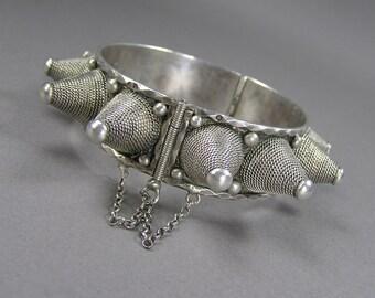 Vintage Spike Bracelet, Silver Ethnic Bracelet, Hinged Bracelet, Dancer, Protective Cuff, 835 Silver, Tribal Jewelry