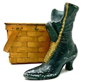 Unique Vintage Vase - Black Metal Shoe Planter - Victorian Lace Up Ladies Boot - Artist Brush Holder