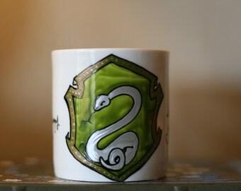 Small Slytherin House Crest Mug - Pottermore Serpent Crest - Hand-Painted Ceramic Mug
