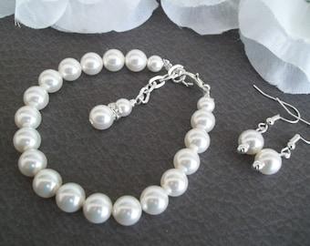Bridal Set, Bridesmaid Jewelry Set, Bridal Bracelet and Earrings, Pearl Bracelet, Pearl Earrings, Bridesmaid Bracelet, Bridesmaid Earrings