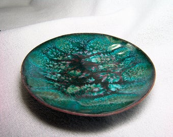 Hammered Copper Enameled Spindle Bowl...3.5 inches... Separation Enamel
