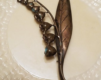 Vintage Sterling silver Lily of the Valley flower large brooch