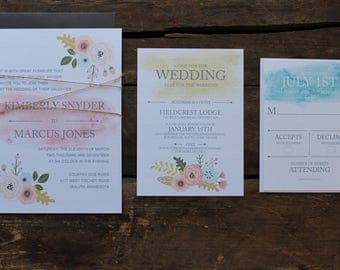 Wedding Invitation // Watercolor Floral Summer Invitation // Neutral & Modern // Outdoor or Country Wedding // You Choose the # Needed