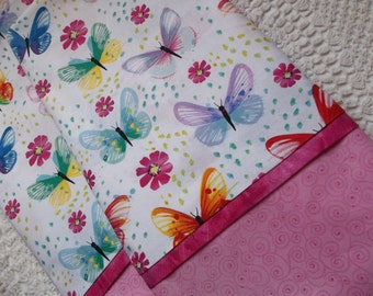 Butterfly pillowcases, Queen/Standard pillowcases, Pair, romantic bedding, Butterflies bedding, nature, cottage chic,