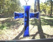 LT Stained glass, cobalt blue, Cross suncatcher, light catcher, hand made in the USA, with twisted copper supports