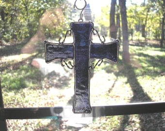 LT Stained glass, slate blue, Cross suncatcher, light catcher, hand made in the USA, with twisted copper supports