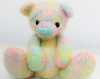 Bear Needlefelted Pastel Rainbow Jointed Baby Teddy Felt Sculpture