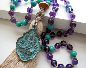 Amethyst Mala Prayer Beads Tassel Necklace Amesthyst Mala Healing Mala Grounding Mala Yoga Mala Japa Mala Chakra Purple Mala Boho Necklace