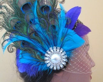 Peacock Wedding Fascinator Hair Clip, Turquoise & Purple Bridal Head Piece, Birdcage Veil, Kentucky Derby, Burlesque Headdress