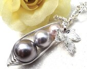 Mothers Day Sale Silver Graduated Peapod Pendant Necklace. Three peas in a pod. Family Pea Pod