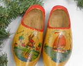 Vintage Wooden shoes hand painted wooden shoes Holland child wooden shoe wood clogschildren size wearable wooden shoes mud garden clogs
